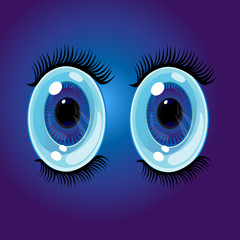 Big oval cartoon eyes. Wide open anime style eyes with long eyelashes. Vector Illustration