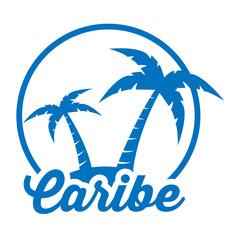 Icono plano Caribe en isla azul en fondo blanco