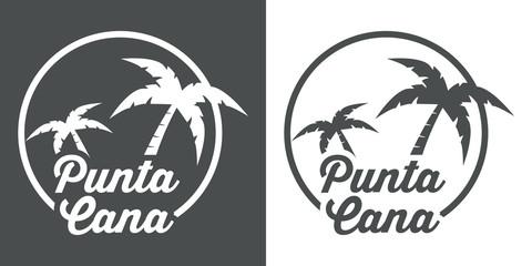 Icono plano Punta Cana gris y blanco