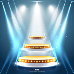 studio background with lighting and gold podium stage