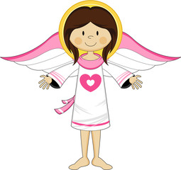 Cute Cartoon Heart Angel with Wings