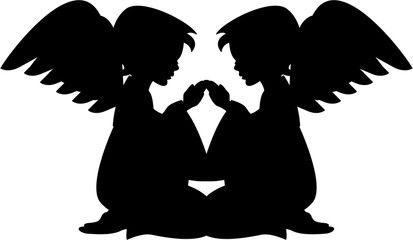 2 Angels Praying in Silhouette