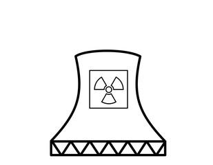 原子力発電所(線画、マーク、四角)