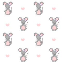 cute cartoon mouse seamless vector pattern background illustration
