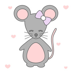 cute cartoon mouse vector illustration isolated on white background