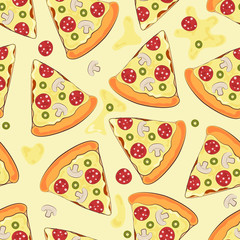 Seamless background with pizza. Pizza. Vector illustration.