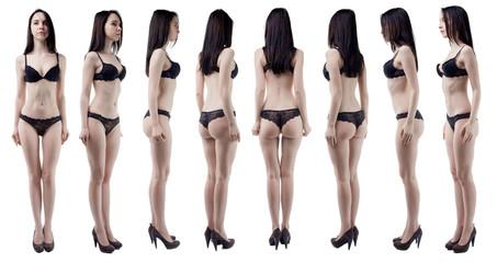 Turning around slim woman in black lingerie