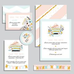 Set wedding card in pastel colors.