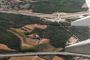 Spanish highway aerial view. View over the area of Girona, Spain.
