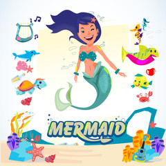 Mermaid. character design with animal and coral set. aquatic life concept - vector