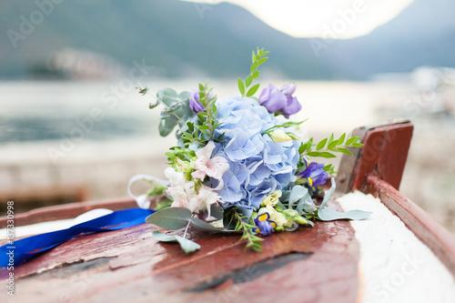 Bridal Flowers Blue Mountains : Quot wedding bouquet of blue flowers hydrangea lies on wooden