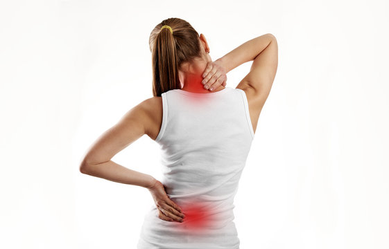 Woman having spine disease or illness. Painful back on female body with red dots