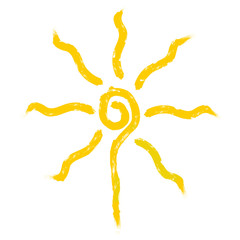 Sun logo, illustration of yellow sun with sun rays
