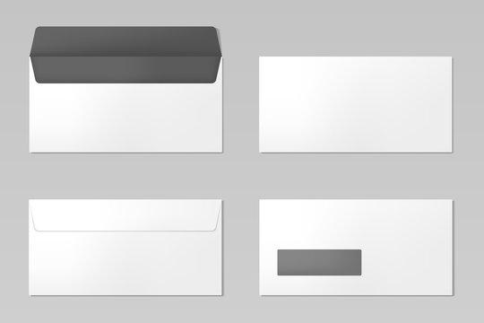 DL Envelopes mockup front and back view, vector illustration