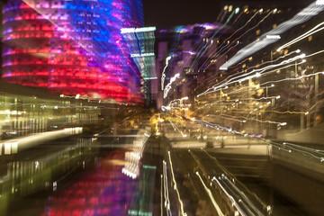 Long light abstract. Torre Agbar, Barcelona, Spain
