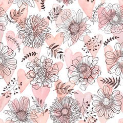 Seamless pattern from flowers outlines and watercolor hearts on white background. Hand drawn flower outlines.