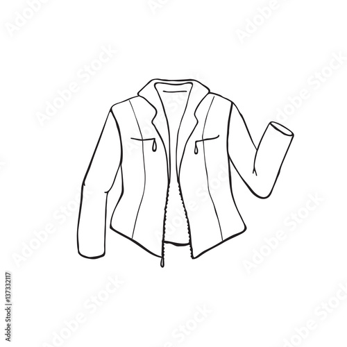 Line Drawing Jacket : Quot hand drawn leather jacket isolated on white background