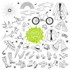 Foto auf AluDibond Boho-Stil Hand drawn spring objects set. Collection of spring accessories isolated on white background. Monochrome illustrations for coloring books.