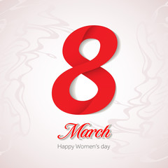 8 March Women's Day greeting card design template. March 8 invitation card. Background template for International Women's Day. Vector illustration.