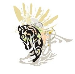 Colorful ornate horse head splashes. Grunge stylized horse head with an eagle wing and floral elements