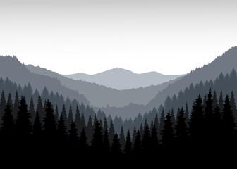 Panorama of mountains. Valley. Grey tones.