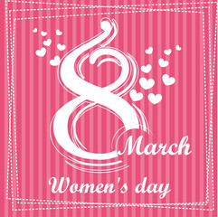 Collection cute illustration pink greeting card, vector template for Happy Women's Day