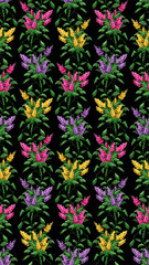 Seamless. Pattern. Color image bouquet of flowers (bloom of lilacs) on the black background using traditional Ukrainian embroidery elements. Can be used as pixel-art.