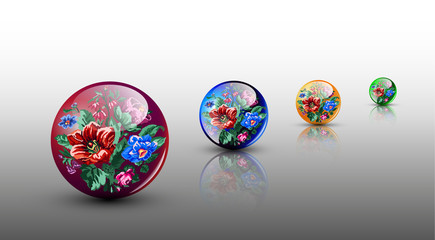 3D сolorful glassy spheres with flowers in ukrainian ethnic motif.