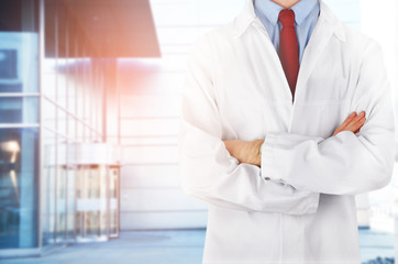 Doctor on clinic background