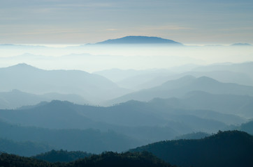 The Fog Mountain in the Morning at Mae Hong Son Thailand.