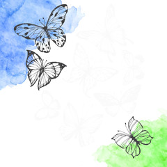 Vector background with hand drawn butterflies and colored watercolor elements. Spring sketch illustration with space for text, invitation or greeting card.