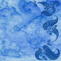 Marine illustration with cartoon mermaids on a blue watercolor background.