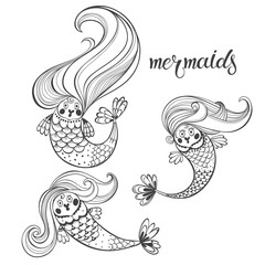 Mermaids. Vector contour  illustration. Black and white isolated elements for design.