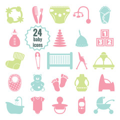 Vector baby icons set.