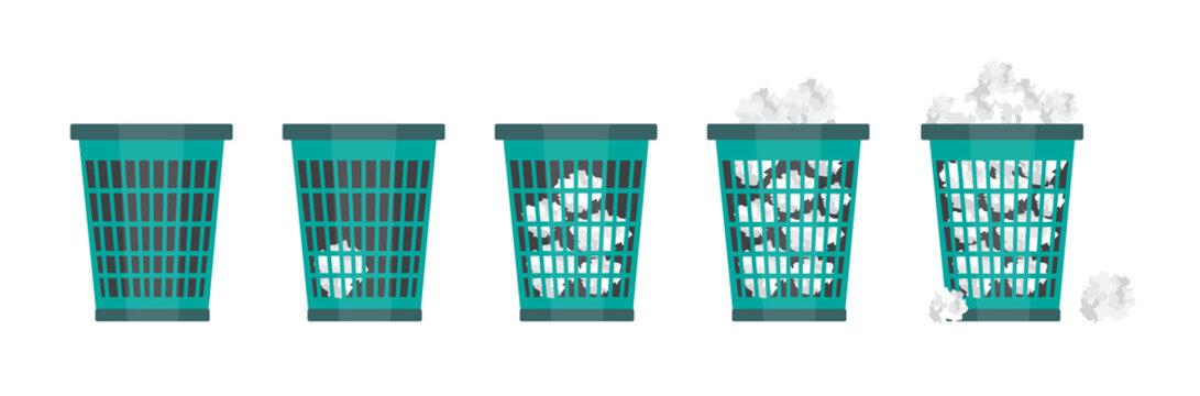 Cartoon office trash recycle bin for garbage.