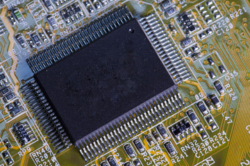 Electronic chip and standard inscriptions of resistors and condensers..