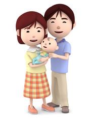 赤ちゃんを抱くママと寄り添うパパ01