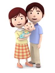 赤ちゃんを抱くママと寄り添うパパ02