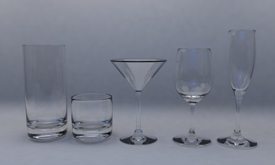 Glass cup set; isolated on white 3d render