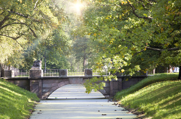 bridge in the Alexander Park in Pushkin (Tsarskoye Selo), near Saint Petersburg