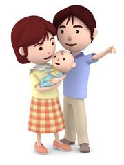 赤ちゃんを抱くママと寄り添うパパ03