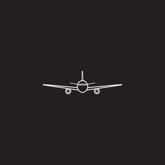 airplane  icon, transport aircraft symbol vector graphics, a linear pattern on a black background, eps 10.