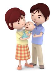 赤ちゃんを抱くママと寄り添うパパ06