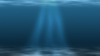 Underwater Scene With Sun Light and Plankton
