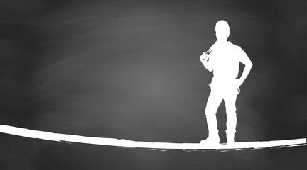 Handwerker | Silhouette | auf Kreidetafel
