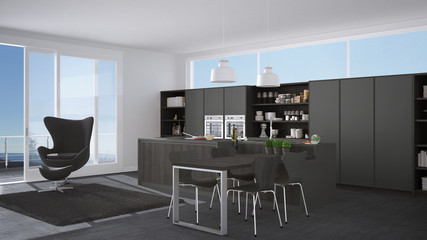 Modern gray kitchen with wooden details, big window with sea or lake panorama
