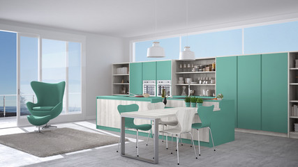 Modern white and turquoise kitchen with wooden details, big window with sea or lake panorama