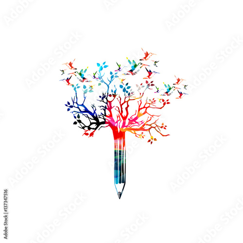 Book Cover Illustration Composition : Quot colorful pencil with treetop and hummingbirds vector