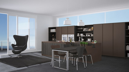 Modern gray and brown kitchen with wooden details, big window with sea or lake panorama