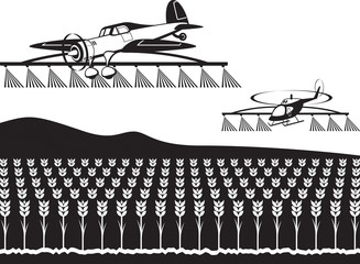 Agricultural aircraft and helicopter spray crops with fertilizers - vector illustration